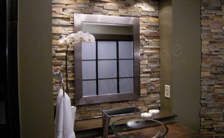 Rock Panel Ochre Stone Veneer Feature Wall