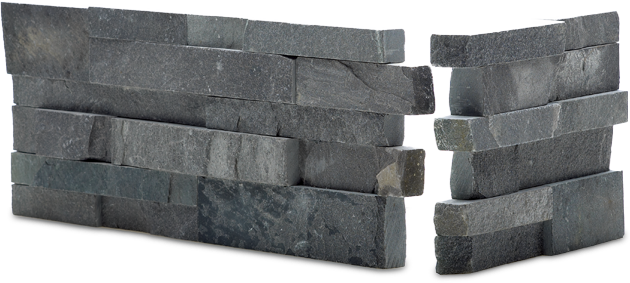 Staxstone Natural Stone Veneer - Rock Panel Charcoal Corner Unit