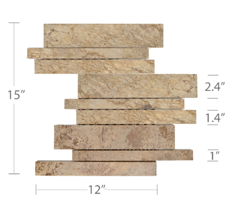 Staxstone Natural Stone Veneer - Lynia IL Tile Mosaic Beige Panel