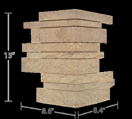 Staxstone Natural Stone Veneer - Lynia IL Tile Mosaic Beige Corner