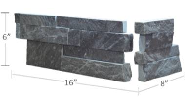 Staxstone - Norstone Natural Stone Veneer - XL Rock Panel Charcoal Corner