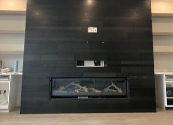 Stone Planc Ebony Basalt Fireplace