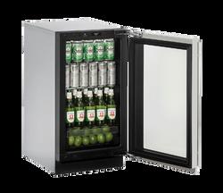 """Glass Refrigerator  18"""" Reversible Hinge Stainless 115v"""