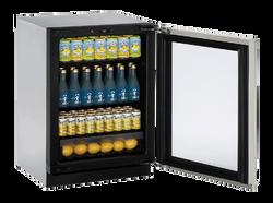 """Glass Refrigerator  24""""  Reversible Hinge Stainless 115v"""