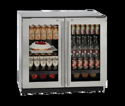 "Glass Refrigerator 36"" Lock Stainless 115v"