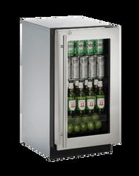 "Glass Refrigerator 18"" Lock Right Hinge Stainless 115v"