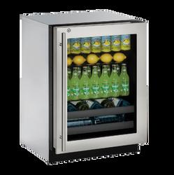 """Glass Refrigerator  24""""  Lock Left Hinge Stainless 115v"""