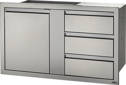 "Napoleon 42"" X 24"" Large Single Door & Triple Drawer"
