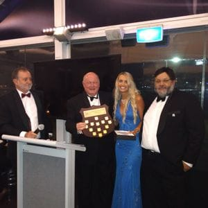 Skye receiving the Mackay-King VSS spirit award at the Gala ball (with Bruce, Terry and Philip)