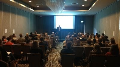 Veterinary doctor addressing delegates at annual conference in Brisbane
