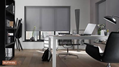 Sunway Roller Blind, grey translucent fabric, filters light but maintains privacy, suitable for living areas, Perth blinds, manufactured in Perth, Australia made