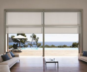 Quantum heavy Duty Roller Blind covering living room window,ocean view, translucent blind fabric