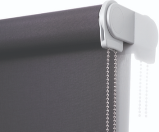 Quantum roller blind close up, grey brackets with chain drive, black screen fabric
