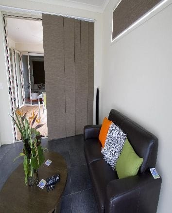 Vertical Blinds in a living room setting