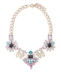 Grey Teal Pink & Yellow Crystal Necklace