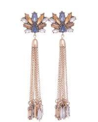 Golden Blue Tassel Earrings