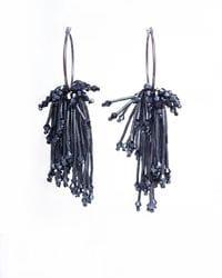 Midnight Blue Beaded Hoop Earrings