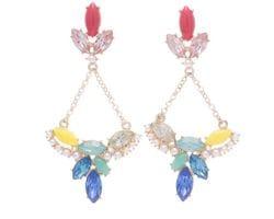 Coloured Crystal & Pearl Earrings