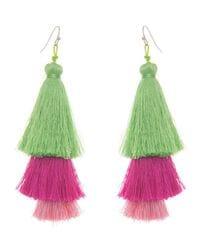 Pink & Green Silk Tassel Earrings