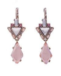Blush Marbled & Crystal Earrings