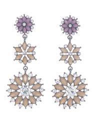 Purple & Beige Flower Earrings