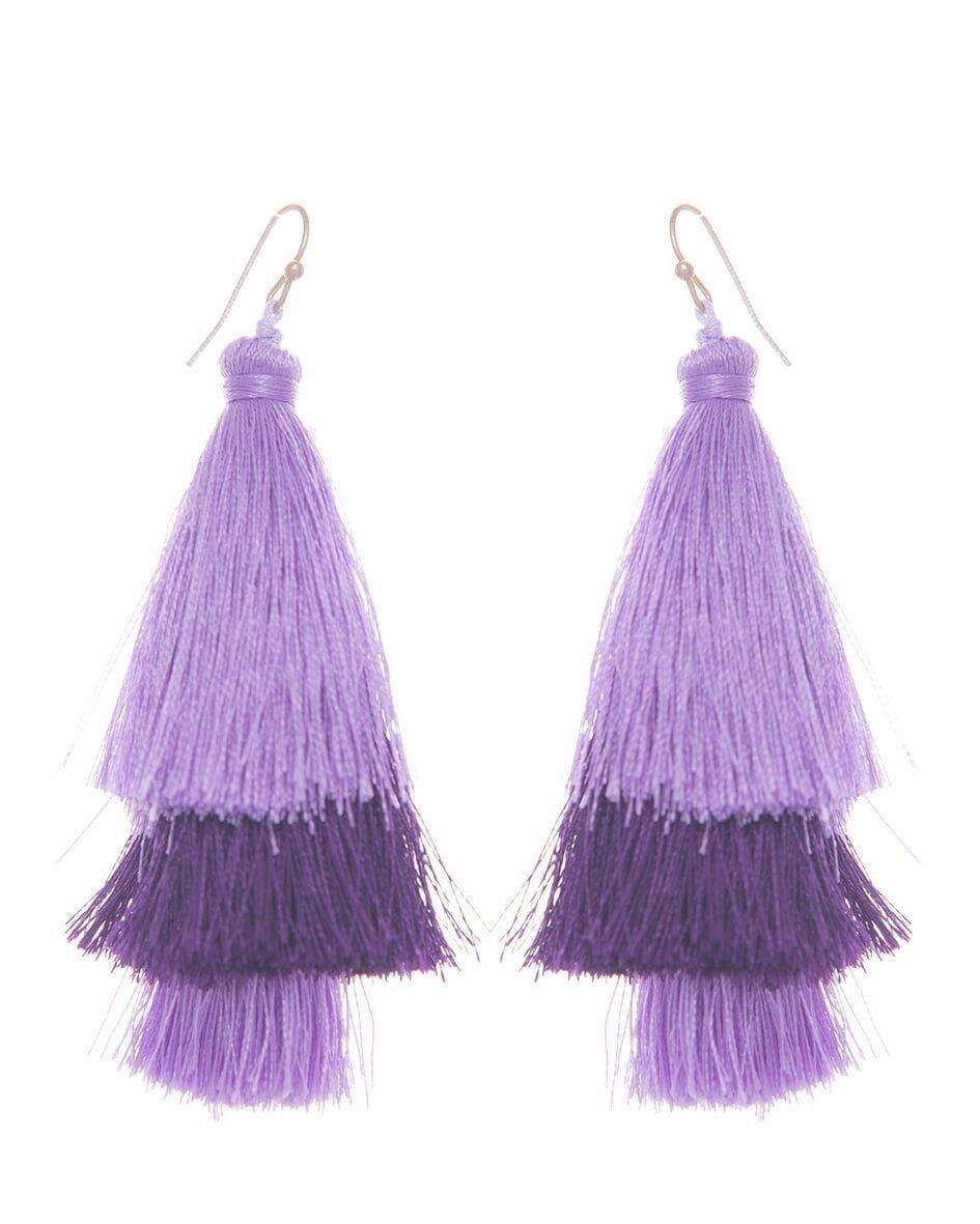 Lavender silk tassel earrings