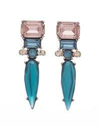 Teal Blue & Pink Spike Earrings