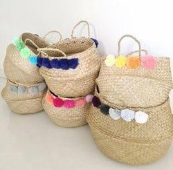 Belly Baskets with Pom Poms
