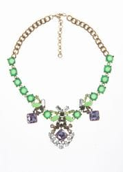 Purple & Green Crystal Necklace