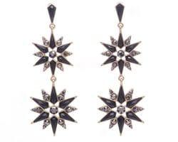 Double Black Star Earrings
