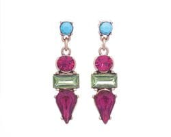 Fuchsia & Turquoise Drop Earrings