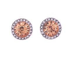 Blush & Diamante Stud Earrings