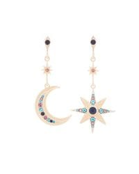 Gold MIsmatched Moon & Star Earrings