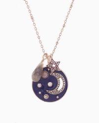 Moon Stars Enamel Charm Necklace