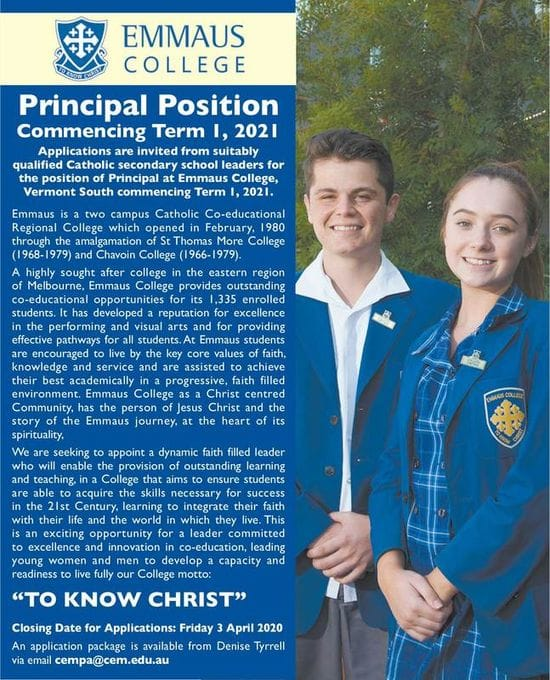 Emmaus College - Principal Position
