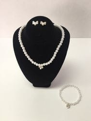 Bow necklace,earring and bracelet set.
