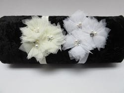 White or Ivory lace flower infant headband