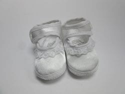 White satin baby shoe 4