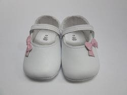 White pre walker with pink bow