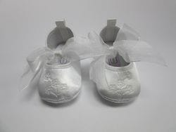 White satin baby shoe 7