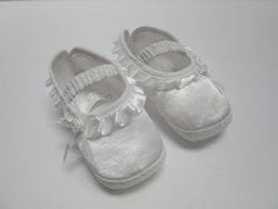 White satin baby shoe 1