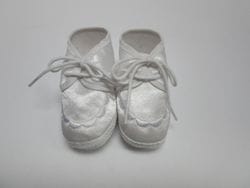 White satin baby shoe B4