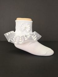 white ruffle sock with a bow