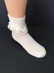 Ivory ruffle sock