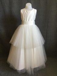 Pearl neckline dress-IVORY