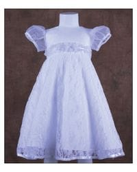 Baptism Dress With Lace Overlay