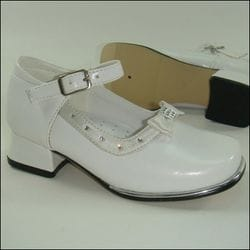 JOLENE- White Chunky Heel With Bow