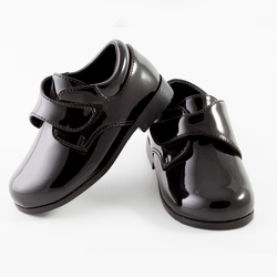 TENDERTOES-Black Patent Velcro Shoe