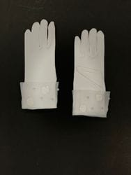 Flower and Pearl Gloves- White