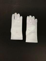 Satin Gloves with Rhinestone Cross